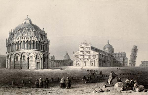 pisa italy old painting