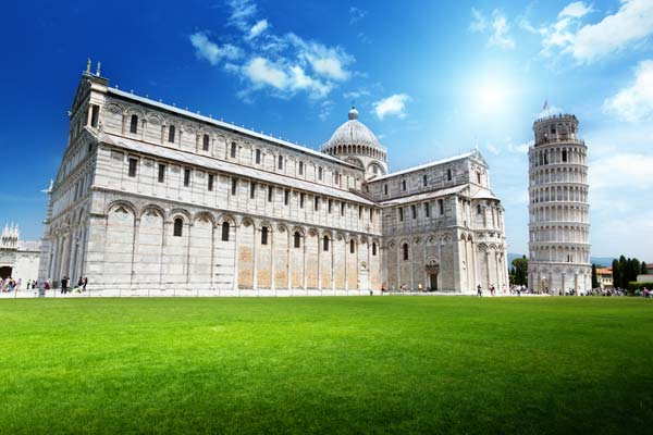 Famous Pisa with leaning tower