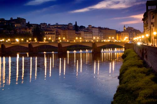 Florence illuminated in the evening